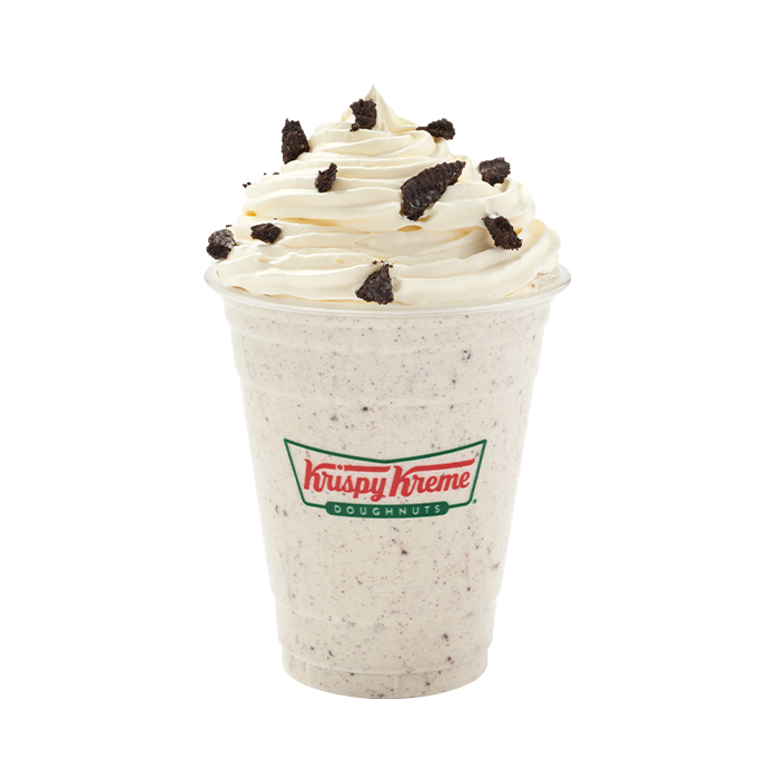 Milkshake with delicious swirled whipped cream, topped with crunchy Oreo cookie pieces.